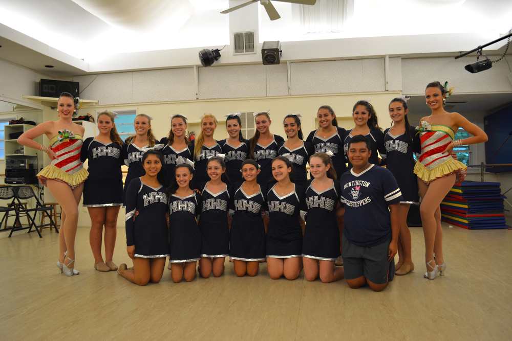 Rockettes dancers Jennifer Clavin and Eleni Gavalas visited Variations, A Dancer's Studio, in Huntington, and met the Huntington High School Highsteppers dance team.