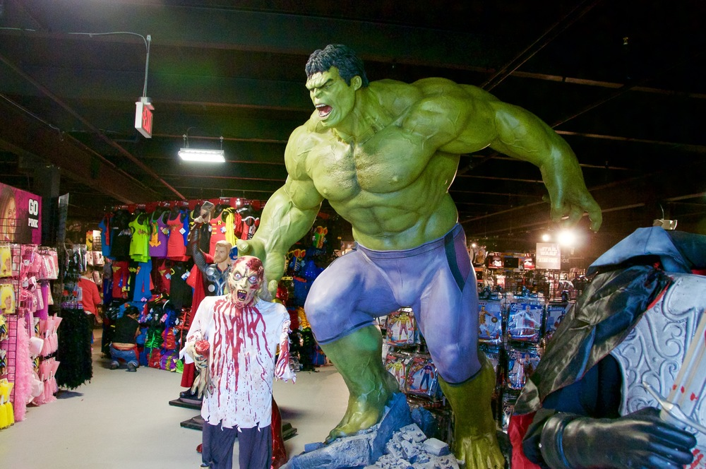 A giant Hulk statue greets customers who enter the front door of Rubie's Costume Company in Melville at 540 Broadhollow Road.