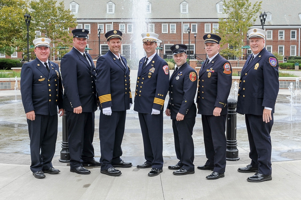 From left, Halesite Fire Chief and Town of Huntington Fire Chiefs Council Second Vice President Dan McConnell, Medal of Valor recipients Firefighter Ryan Sammis of Halesite, chiefs Joe Ervin and Dan Heffernan of East Northport, Firefighter Matt Monahan of Commack, Huntington Fire Chiefs Council President John McKenna and Huntington Chief Fire Marshal Terry McNally. Photos by Dennis Whittam