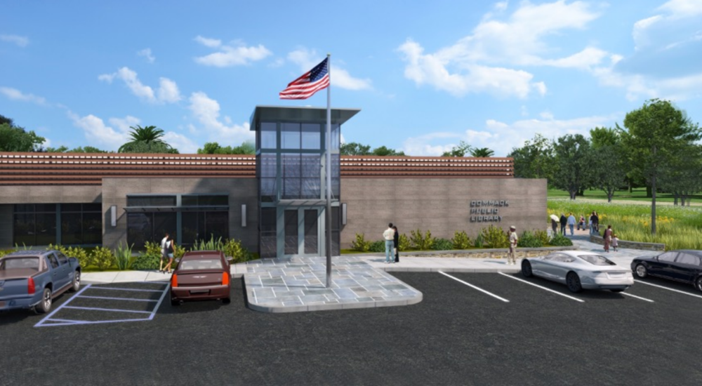 A rendering depicts a proposed renovation to the Commack Public Library, which was first built in 1976.