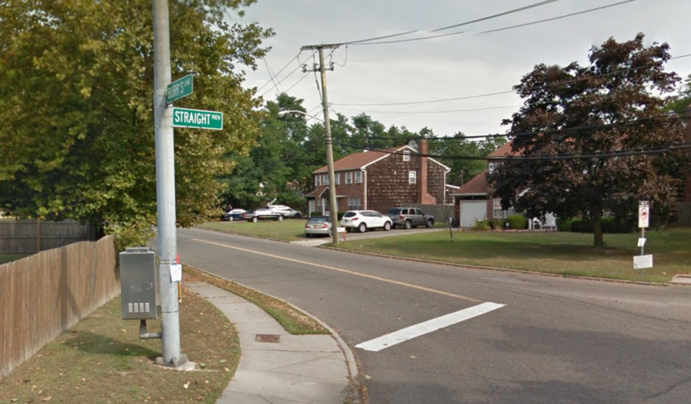 Cristi Rivas, of Dix Hills, was arrested near Straight Path and Burr's Lane in Wheatley Heights for allegedly driving while intoxicated following a crash with her 3-year-old son in the car. Photo credit: Google Maps.