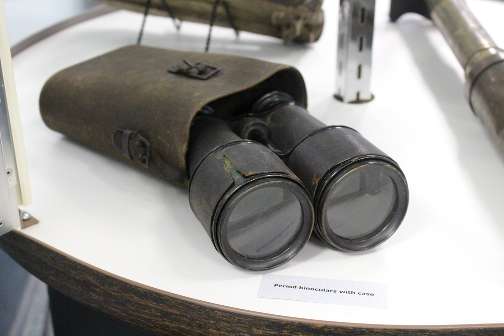 These Civil War binoculars were cracked in battle during the Civil War and can be found at a Huntington Town Hall exhibit.