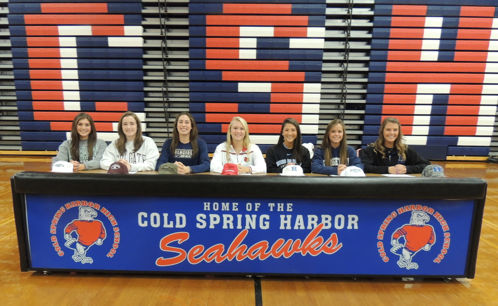 Cold   Spring Harbor senior athletes sign letters of intent with Division I colleges for next fall. From left to right: Lauren Spinnato, Sabrina Ordierno, Caroline Kiernan, Ashley Lynch, Shannon Logan, Kate Hudson and Samantha DeBellis. Photo    by     Karen Spehler