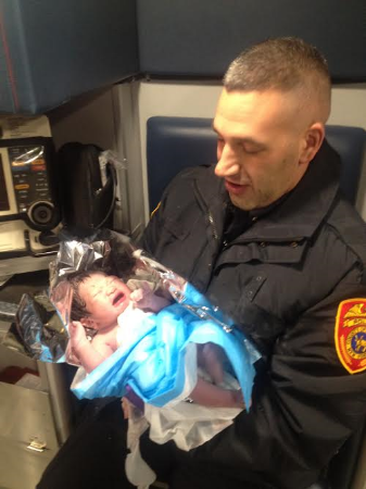 Suffolk County Second Precinct Police Officer Jonathan Murray delivered a baby girl in Dix Hills early Wednesday morning.
