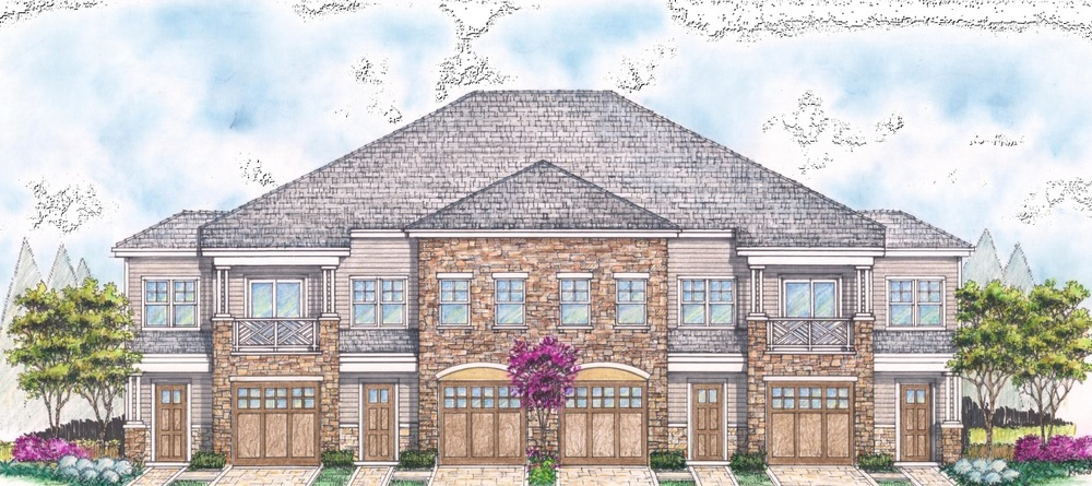 A rendering depicts one of 43 residential buildings proposed to be built as part of the Seasons at Elwood, a 256-unit senior housing development planned for the 37-acre Oak Tree Dairy property in East Northport.
