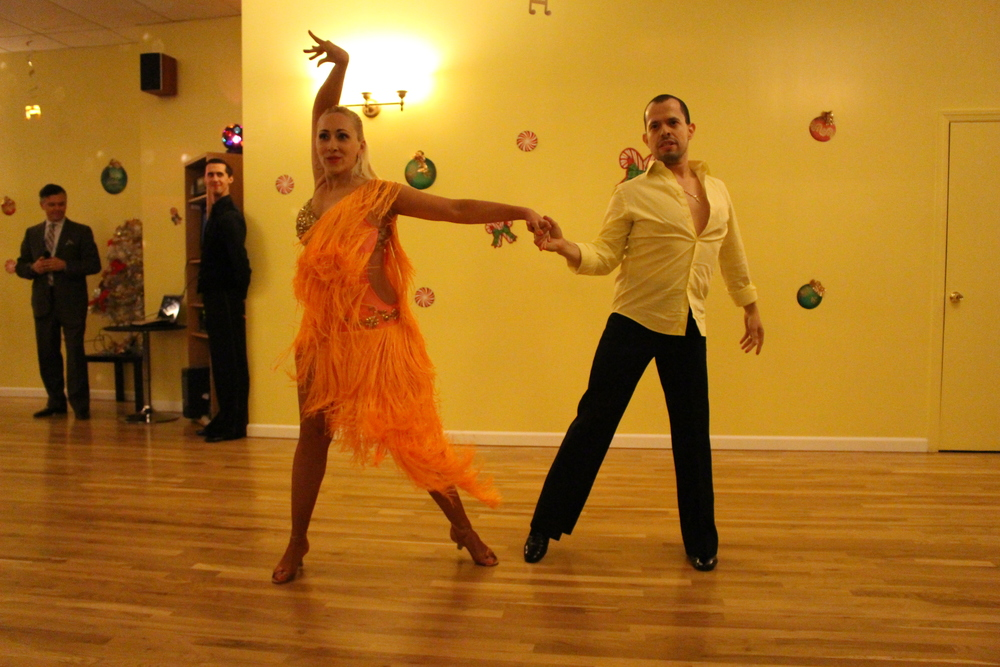 Jose and Marina Palacios, owners of the Fred Astaire Dance Studio in Huntington Station, perform the samba for the first time publicly since Jose's cancer diagnosis.
