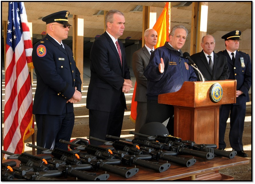 Nassau County Executive Edward P. Mangano announced that the police department is adding rifles and training to better prepare against terrorism situations.
