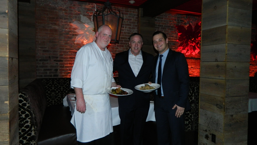Honu chef Robert Flaherty, owner Mark Zecher and manager Tom Nocella present skirt steak and shrimp and sea scallop risotto dishes.