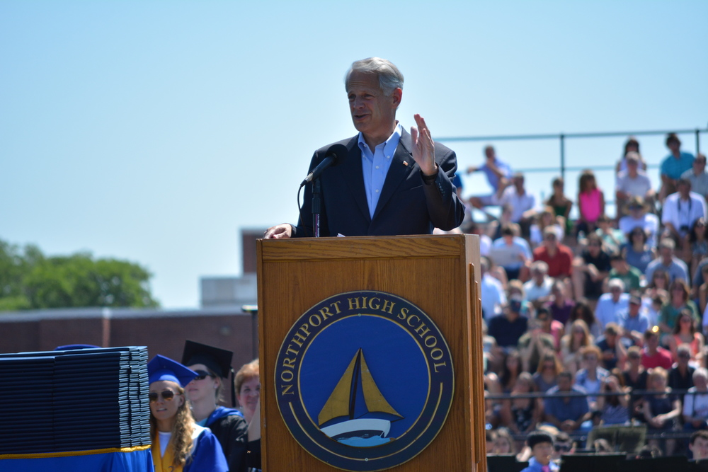 Rep. Steve Israel (D-Huntington), pictured during Northport High School's 2014 graduation ceremony, announced Tuesday he will not seek re-election to Congress.