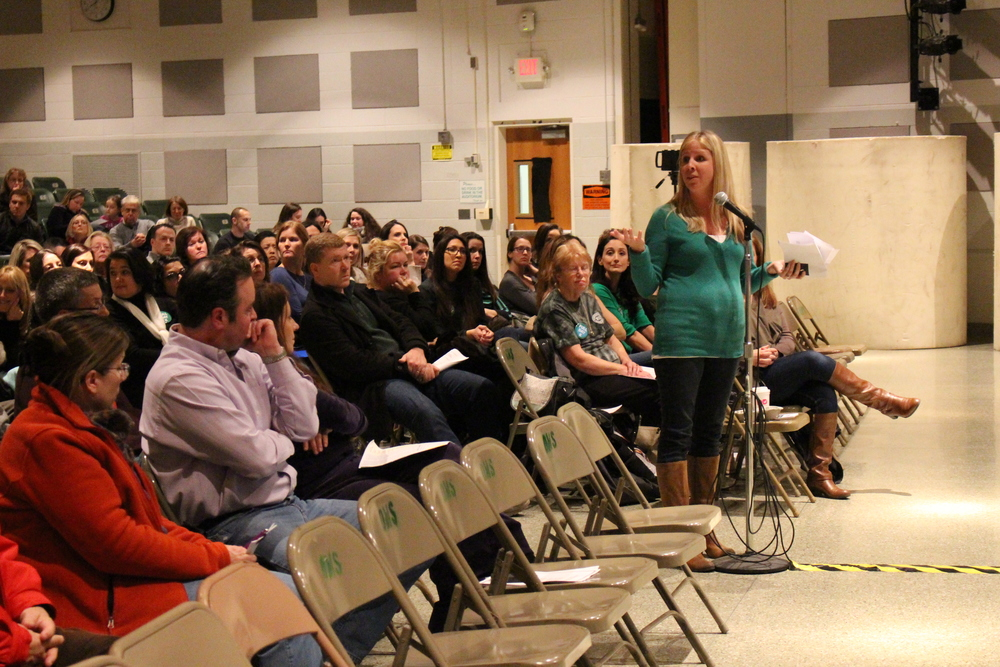 Jennifer Rogdakis spoke in favor of full-day kindergarten in the Harborfields School District at a community forum Jan. 13. She said a half-day program for kindergarteners is not enough time to learn the curriculum and develop social skills.