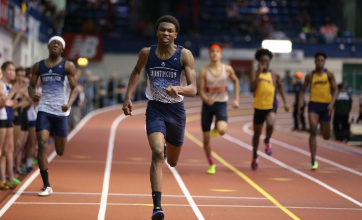 Huntington High School's Kyree Johnson runs the 300-meter dash at the Molloy Stanner Games in Manhattan last weekend. He finished in 34.03 seconds, which is the best time in the county this winter season, and a new Suffolk record.