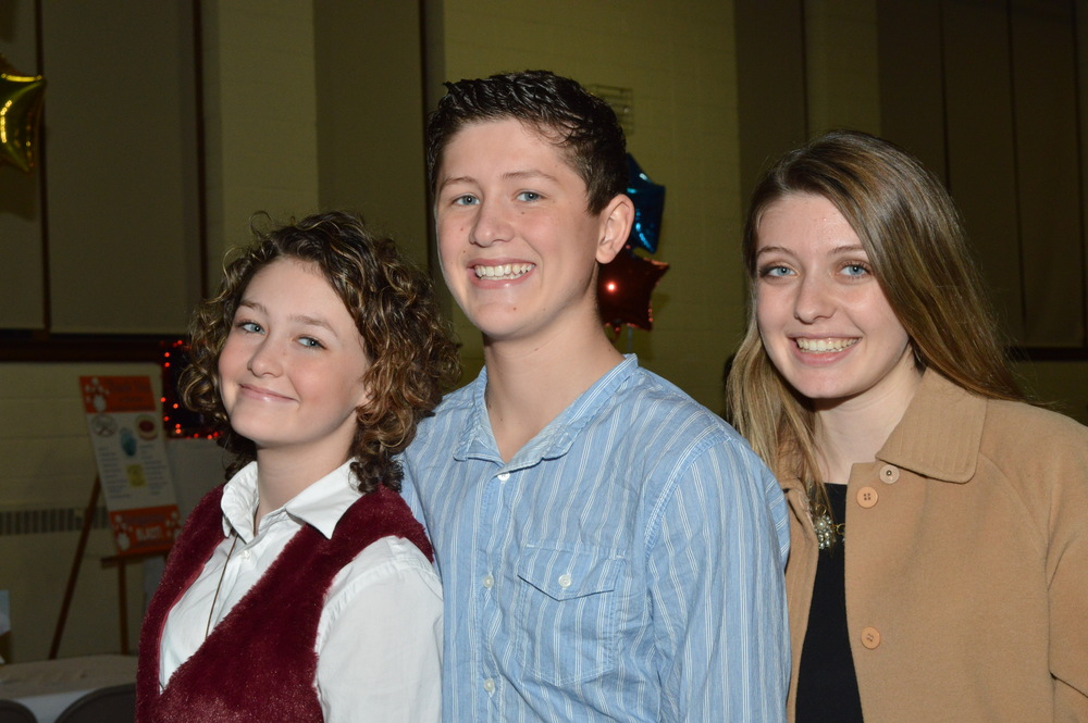 Sophia, John and Olivia Bongiorno flew up from Alabama to attend the fundraiser held to raise money for their cancer-stricken parents' medical treatment.  (Photo by Alan Pearlman)