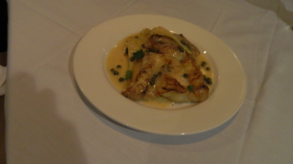 Monkfish Piccata, prepared in white wine, lemon and caper sauce, is a light, but filling entree.