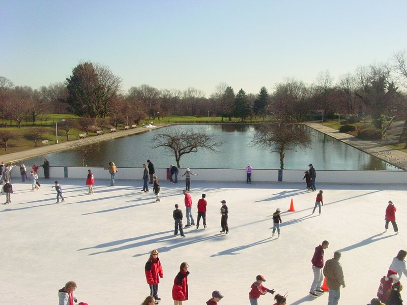 The outdoor ice rink at Christopher Morley Park in Roslyn-North Hills.