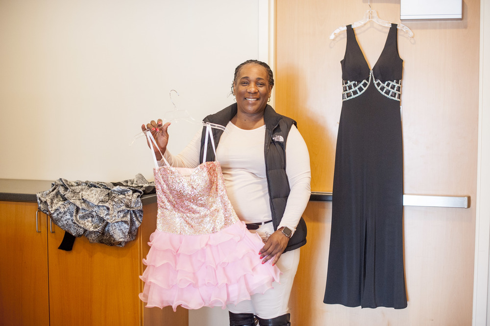 Laci Wright, of Huntington Station, a graduate of the leadership training program Parent Leadership Initiative, is collecting prom dresses that will be given away to high school students who might not otherwise be able to afford them.
