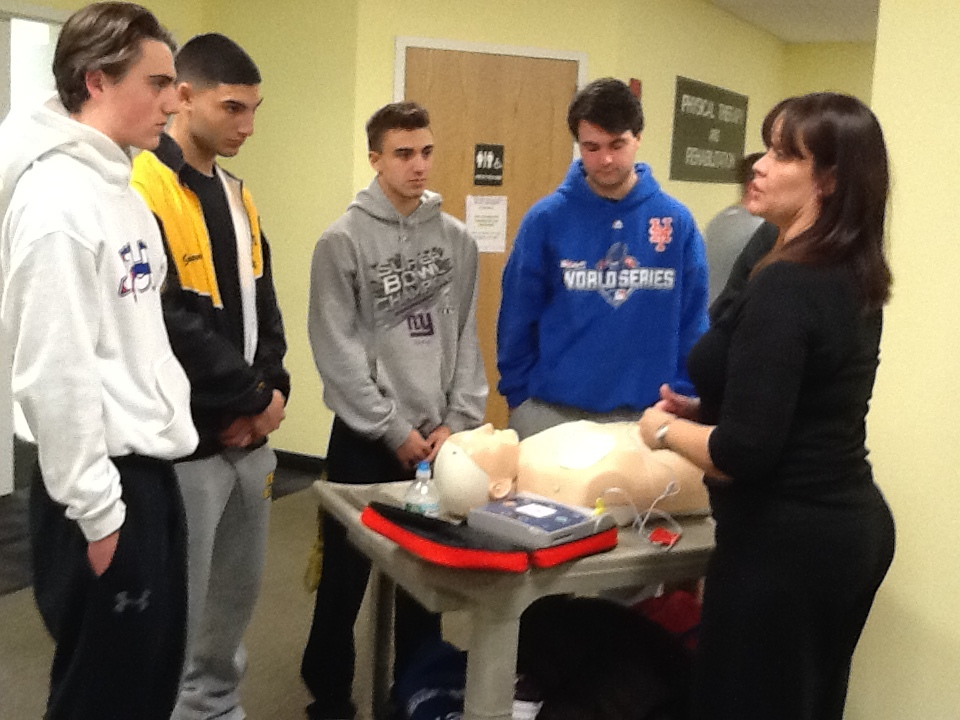 St. Anthony's student athletes learn first aid training at last week's Student Athlete Cardiac Screening Program, which was conducted by the staff from St. Francis Hospital.   Photo by Don Corrao
