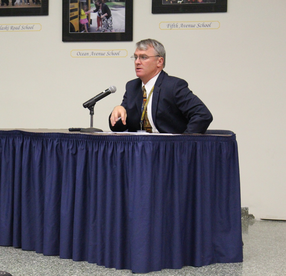 Robert Banzer, Northport-East Northport superintendent, presents information on the district's tentative 2016-2017 budget during a public meeting on Feb. 10.