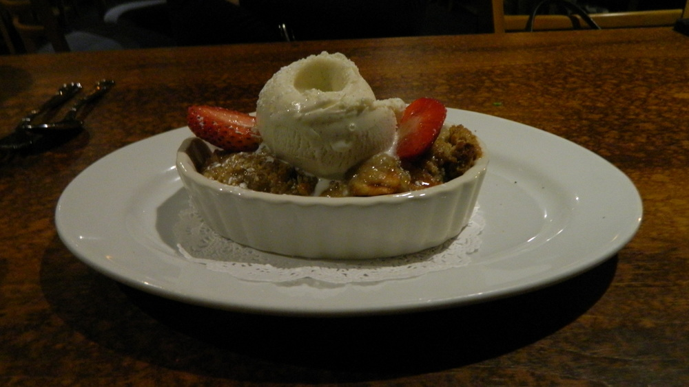 Warm apple crisp is the perfect dessert to warm you up during the winter at Mill Pond House.
