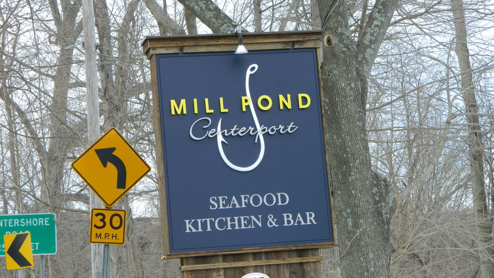 The new sign of Mill Pond House of Centerport, one of several renovations the restaurant has recently undergone.