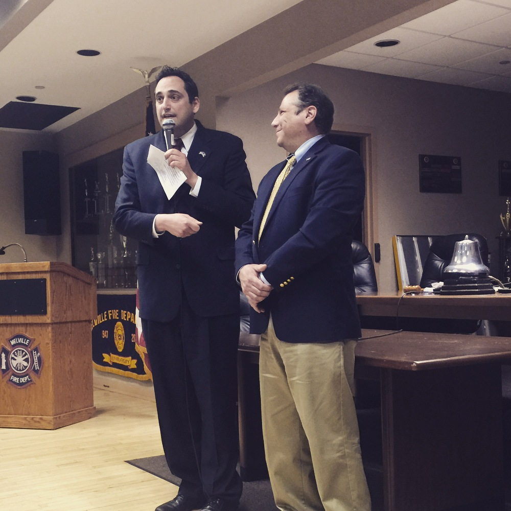 State Assemblyman Chad Lupinacci, left, was backed for the soon-to-be-open seat in the Third Congressional District on Monday by fellow Assemblyman Andrew Raia, right.