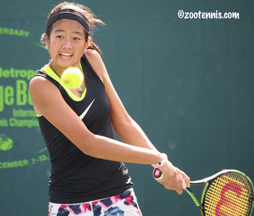 : Lea Ma, of Dix Hills, is one of five American girls who recently to South America to compete in three prestigious International Tennis Federation tournaments. Photo provided by Lea Ma