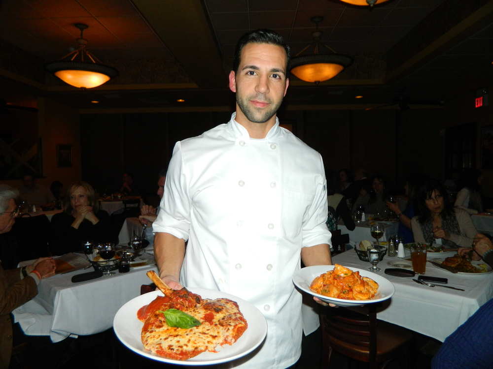 Cirella's Executive Chef Anthony Trobiano presents eggplant parmigiana and Capellini Pescatore entrees.