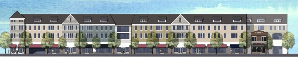A three-story mixed-use building with retail space, and 33 studio and 33 one-bedroom apartments, proposed for Gateway Plaza in Huntington Station went before the Huntington Zoning Board of Appeals last week for several variances required to proceed with the project.   Rendering provided by the Town of Huntington