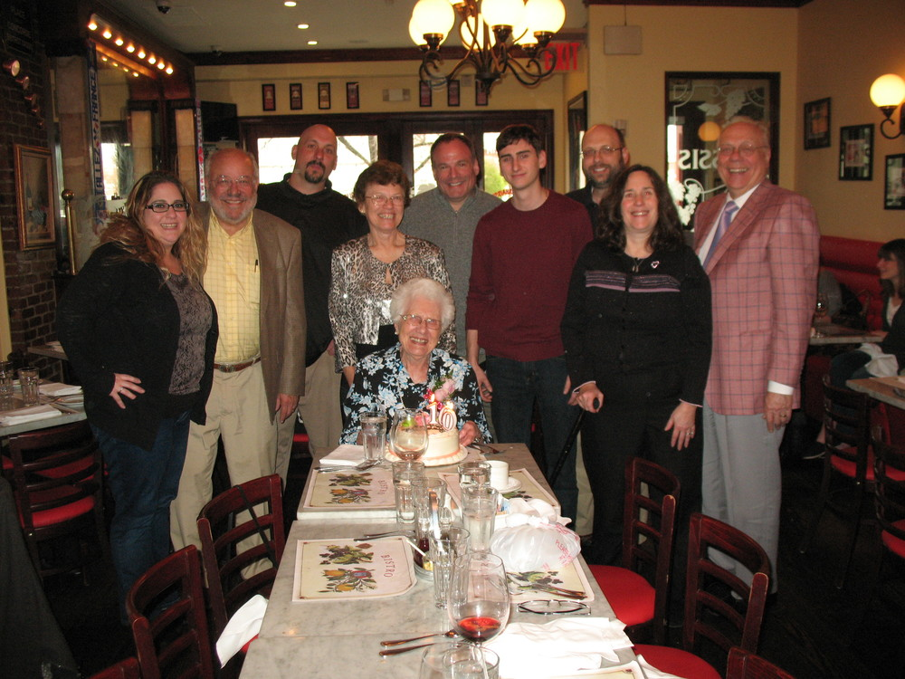 Jeannette Kopp with her family at Cassis Restaurant celebrating her 100th birthday. Photos by Janet Grossman