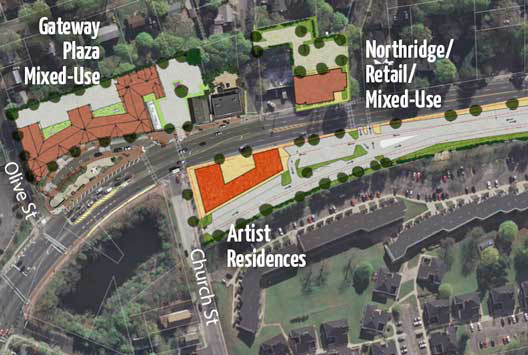 Renaissance Downtowns' Northridge Street development is depicted on a map next to one of the master developer's other projects, Gateway Plaza, which is also being reviewed by the ZBA. Photo/Renaissance Downtowns