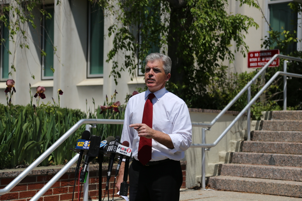 Suffolk Executive Steve Bellone calls for the immediate resignation of District Attorney Thomas Spota during a press conference last week.
