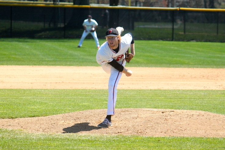 Stephen Ridings, of Commack, who pitches for the Haverford College baseball team, has been invited to many pre-draft workout for Major League Baseball. Photo by Rob Steinert