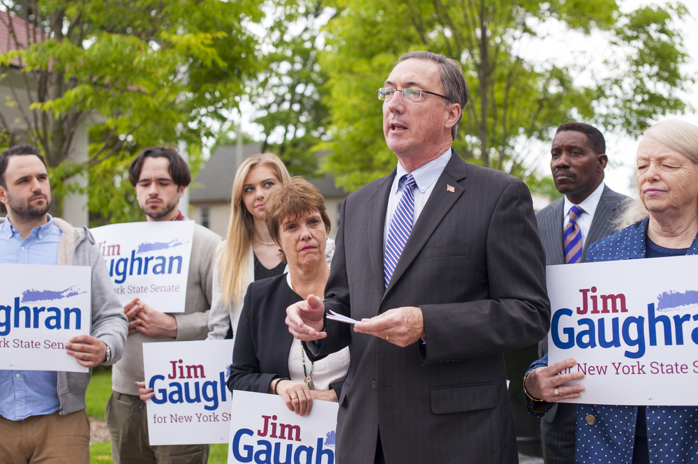 James Gaughran, the Suffolk County Water Authority Chairman, and a former Huntington Town councilman, announced Tuesday his campaign for the state's 5th Senate District, challenging Republican incumbent Carl Marcellino.
