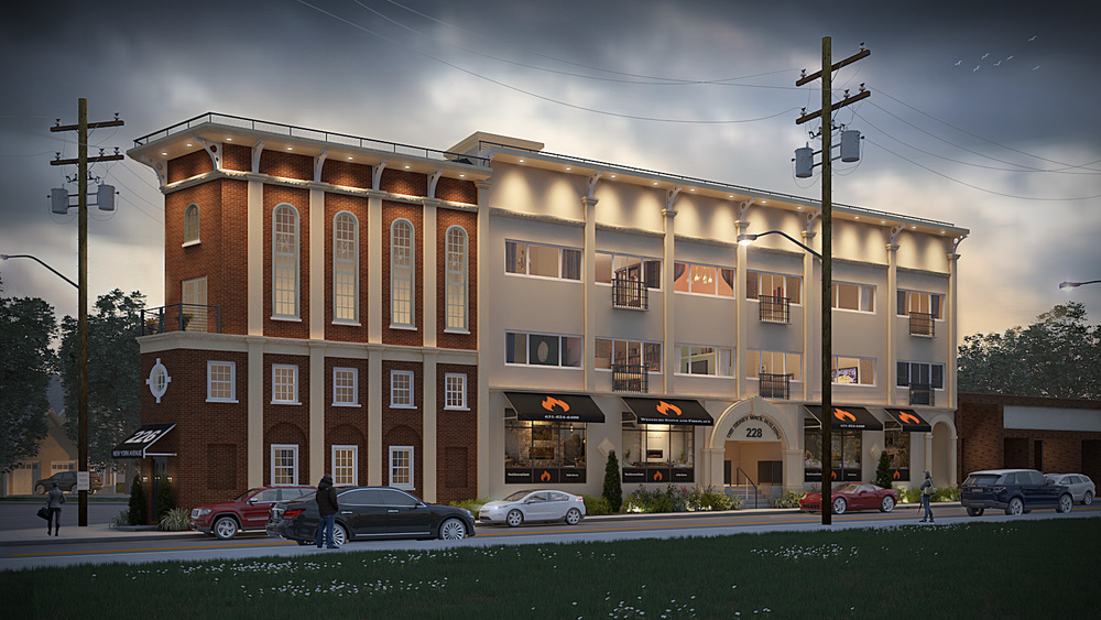 A rendering depicts the three-story, mixed-use structure that is planned to open on New York Avenue in Huntington village next spring. Rendering courtesy of Gregory DeRosa