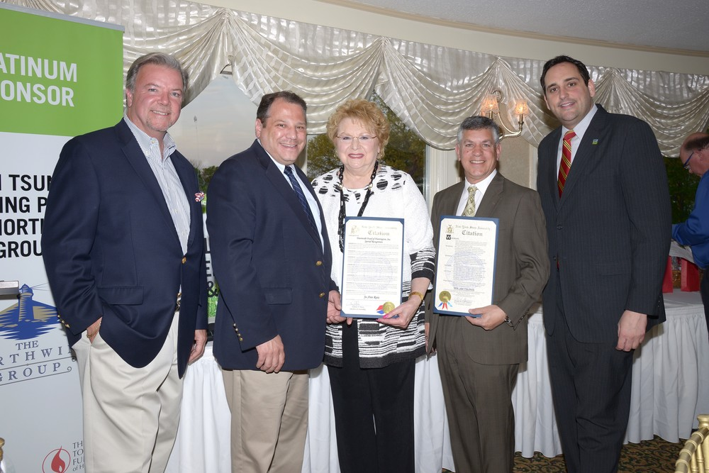 From left: Jim Powers, president of the Townwide Fund of Huntington; state Assemblyman Andrew Raia; Huntington Town Clerk Jo-Ann Raia; Jim Tsunis, golf outing honoree, and managing member of the Northwind Group; state Assemblyman Chad Lupinacci (R-Huntington Station) gather at the dinner following the annual charity golf outing. Photo by Pam Setchell/Viewpoint