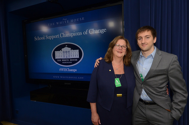 Annie McClintock is pictured with her son Jamie McClintock at the School Support Champions of Change honoring ceremony in Washington, D.C. Photo by Harborfields Central School District