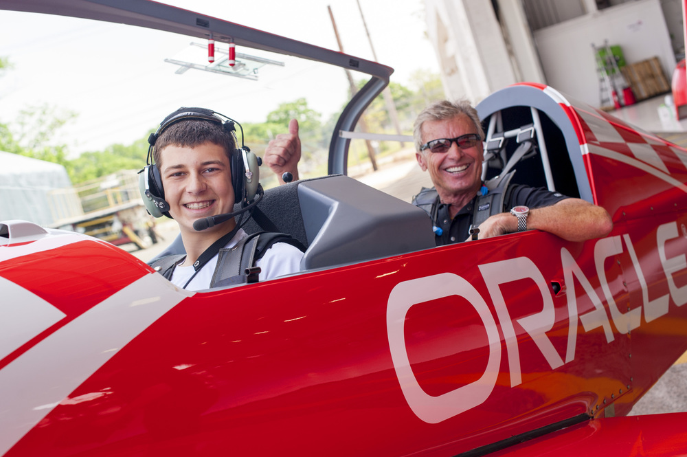 "Cold Spring Harbor High School student Alex Moynihan spread his wings, flying with aerobatic pilot Sean Tucker, named a ""Living Legend of Flight, by the Smithsonian Institution."