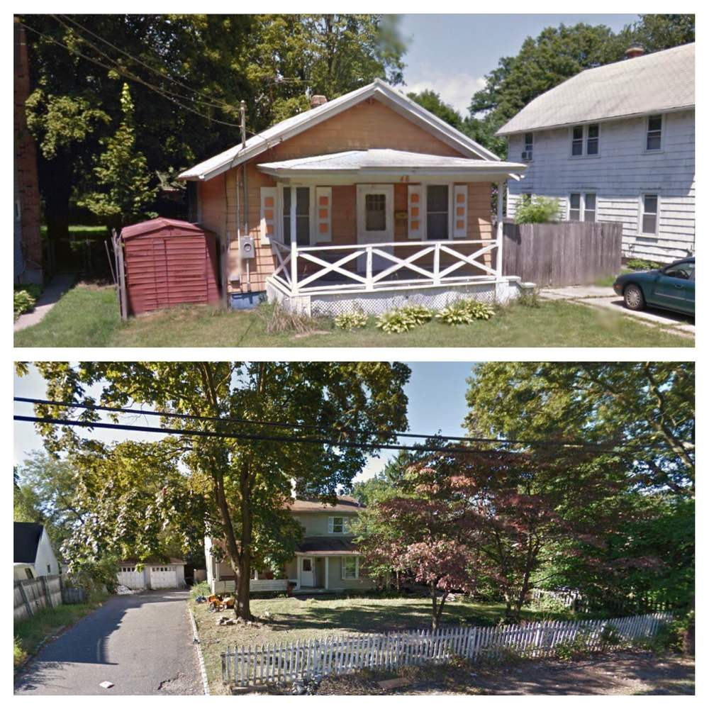 Two Huntington Station residences, 104 W. 21st St., top, and 46 E. 12th St., bottom, have been hit with a total of 17 summonses after a search warrant uncovered illegal apartments and town code violations, according to Town of Huntington officials. Photos/Google Maps