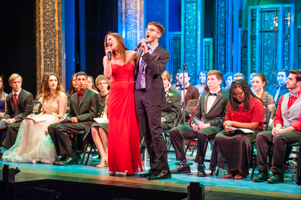 "Nikki Balducci and Scott Huffman, both of Harborfields High School, deliver an energetic duet, singing and dancing ""Friendship"" from ""Anything Goes."""