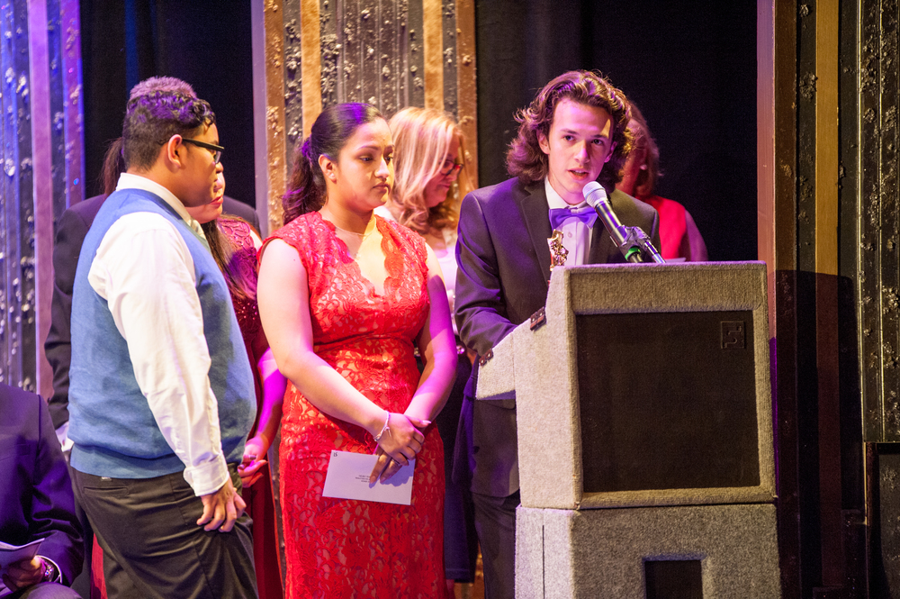 "Members of the technical production team of Huntington High School accept a Hunting-Tony for Best Technical Production for ""Don't Drink the Water."""