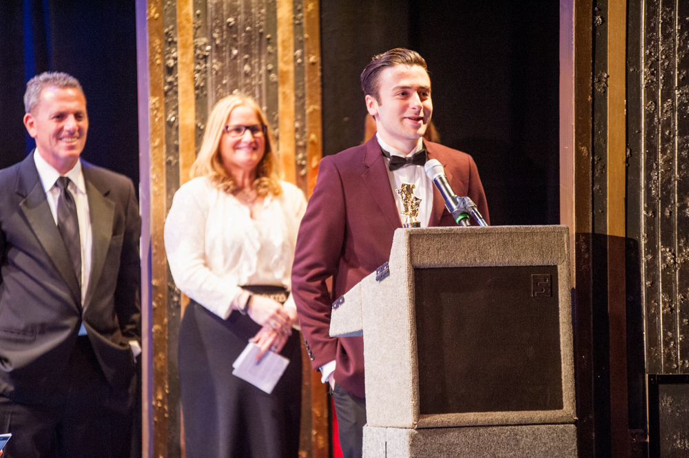 "Adam Brett, of Commack High School, secures the award for Best Lead Actor in a Musical for his role as ""Sweeney Todd"" in the high school's production of ""Sweeney Todd."""