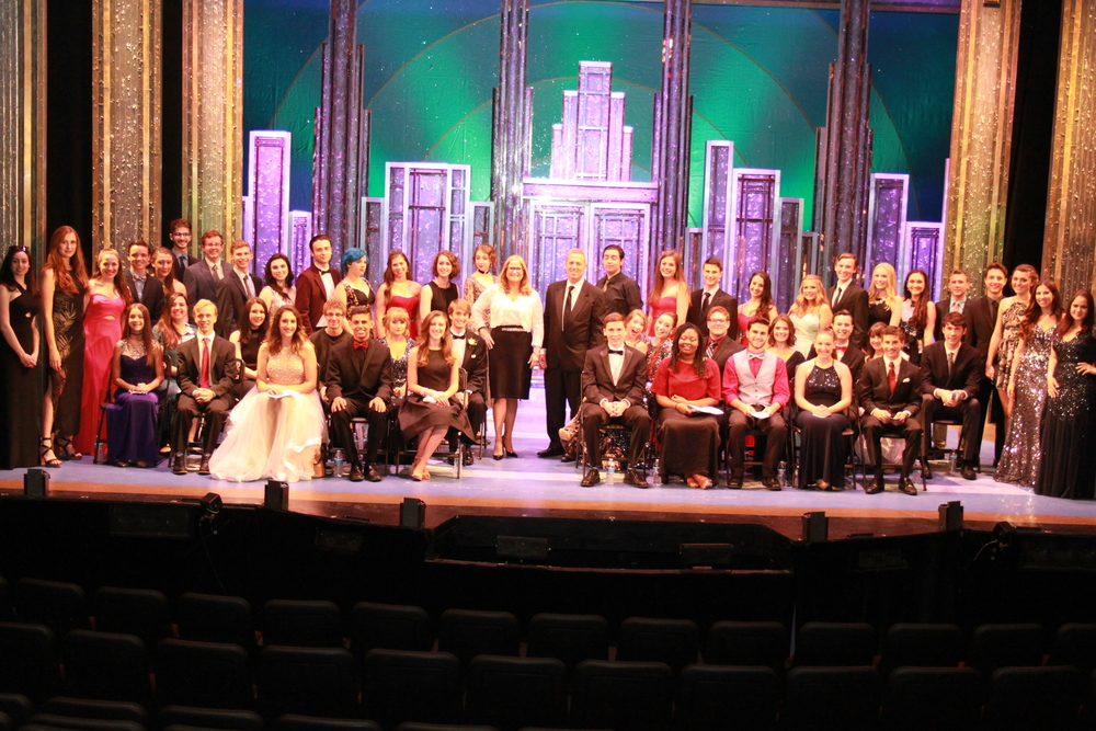 Stars from each of the high schools across Huntington shined Monday night during the annual Hunting-Tony Awards hosted at John W. Engeman Theater in Northport Village. Above, students are joined by town councilmembers Mark Cuthbertson and Susan Berland, who sponsor the annual event. Photo/Town of Huntington