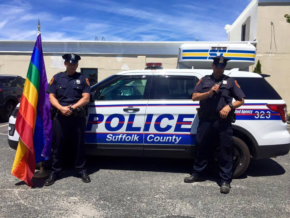 Suffolk County police stand in solidarity with the Orlando shooting victims. The department also stepped up patrols throughout the county in the wake of the shooting.