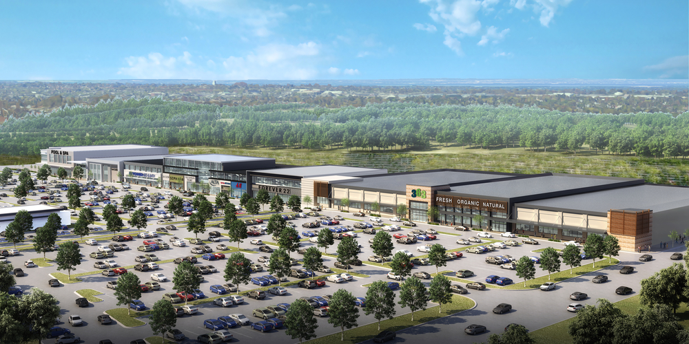 The proposed 486,000-square-foot Elwood Orchard shopping center will be the focus of a public hearing during the June 22 Huntington Planning Board meeting. In order for it to be approved, the plan would require the Huntington Town Board to amend the town's Horizons 2020 Comprehensive Plan. Rendering provided by Kouros Torkan
