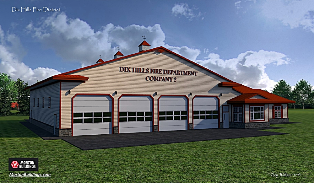 Dix Hills fire officials have revealed $8 million plans for its 115 E Deer Park Road property, including renovation of its existing headquarters building and construction of a four-bay substation, portrayed above in a rendering. Rendering courtesy of Dix Hills Fire Department