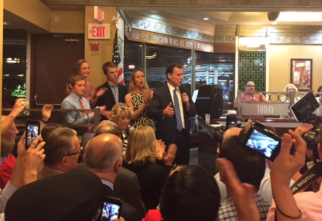Former Nassau County Executive Tom Suozzi speaks at his victory party Tuesday night after clinching the Democratic primary for New York State's 3rd Congressional District.   Photo courtesy of Michael Florio