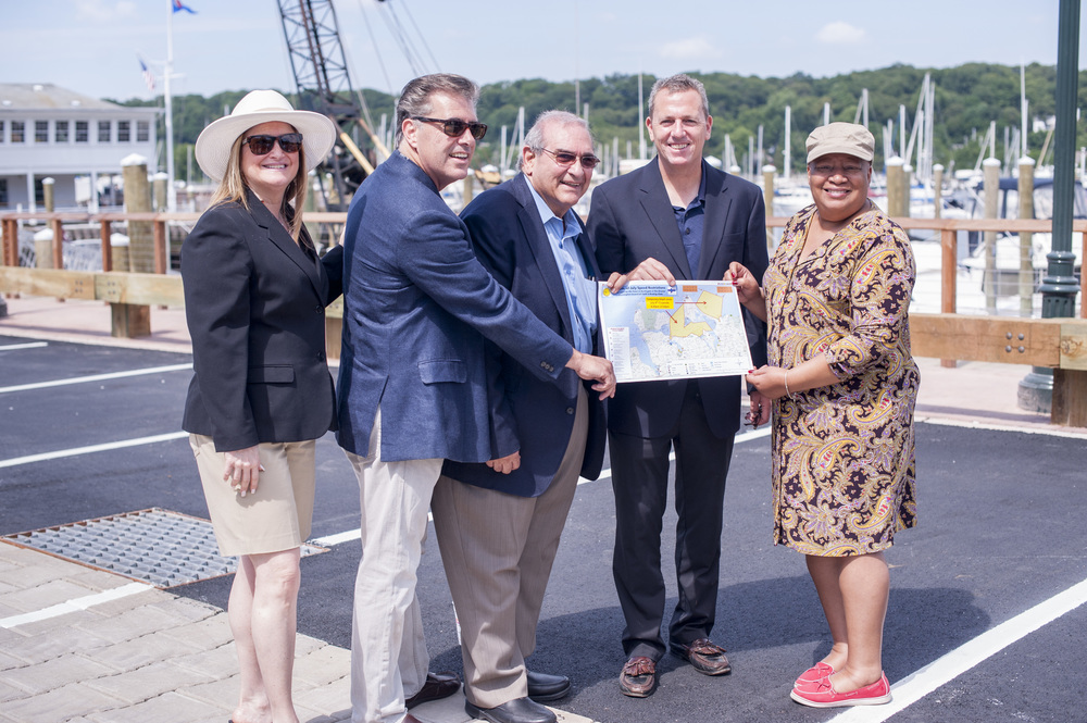 Huntington Town Board members stressed the importance of safe boating on Monday during a ceremony unveiling the newly-reconstructed Halesite Marina.