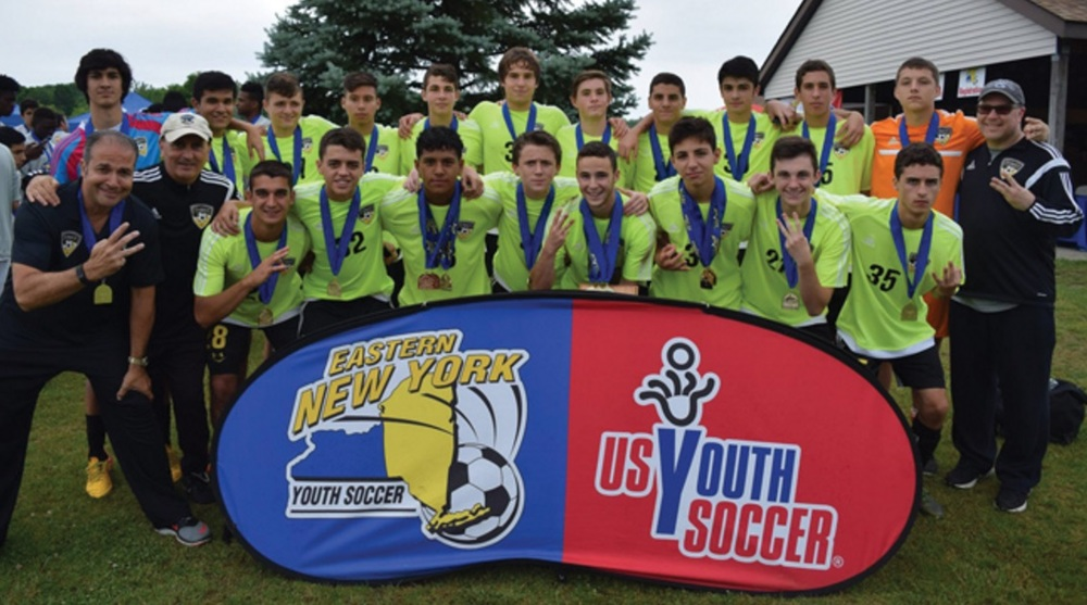 The Dix Hill Hurricanes boys U-16 soccer team became State Open Cup champions for the third consecutive year following a 3-0 win over the Pleasant Valley Cobras on June 4. Photo courtesy of Eastern New York Youth Soccer Association