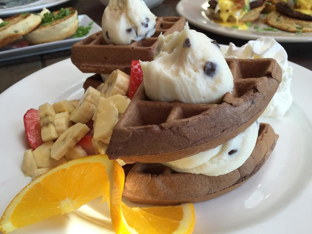 The cannoli cream waffle at Toast & Co. in Huntington could serve as either breakfast or dessert.   Photo/Facebook