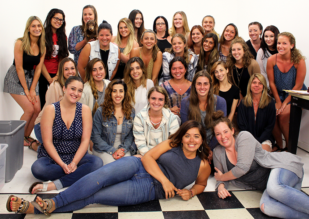 Owner of Ooh La La Boutiques Jenny Montiglio, back row, third from left, stands with her staff. Ooh La La has locations in Huntington village, Long Beach, Babylon Village, Sayville, Ocean Beach and Rockville Centre.   Photo provided by Jenny Montiglio