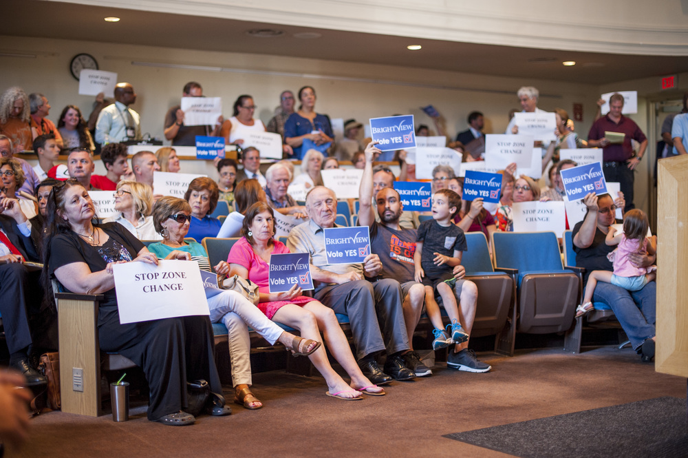 Both supporters for and advocates against a proposed Brightview Senior Living assisted living center in Dix Hills swarmed to Huntington Town Hall on Tuesday for a hearing on the proposal.